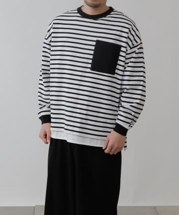 COLONY 2139(コロニー トゥーワンスリーナイン) 21/2OEボーダー配色ポケット付き長袖T/ロンT(ユニセックス可)