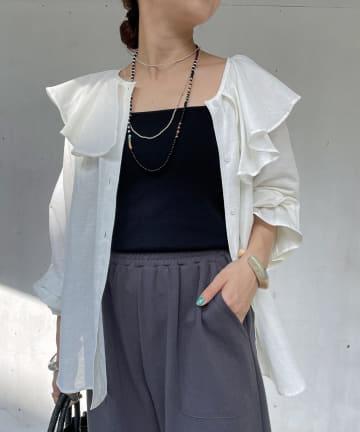 Omekashi(オメカシ) 【WEB限定カラー:ホワイト】リネンラッフルブラウス