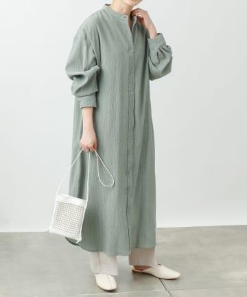 COLONY 2139(コロニー トゥーワンスリーナイン) 楊柳シアー配色ステッチバンドカラーシャツワンピース