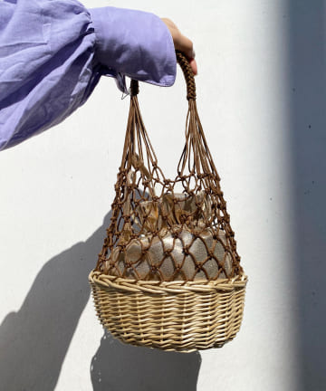 DOUDOU(ドゥドゥ) 柳×マクラメ編みバッグ