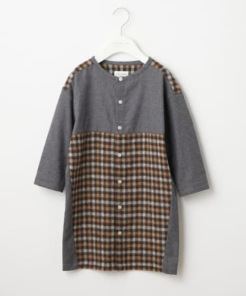 OUTLET(アウトレット) 【CIAOPANIC TYPY KIDS】シャギーチェック ノーカラーワンピース