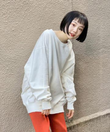 Kastane(カスタネ) 【UNISEX】HAND-PROCESSED DAMAGE SWEATSHIRT