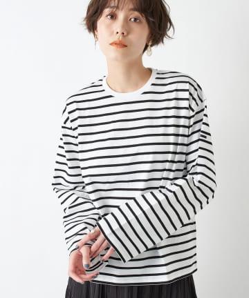 un dix cors(アンディコール) 【ORCIVAL(オーシバル)・手洗い可】ストライプロングTシャツ