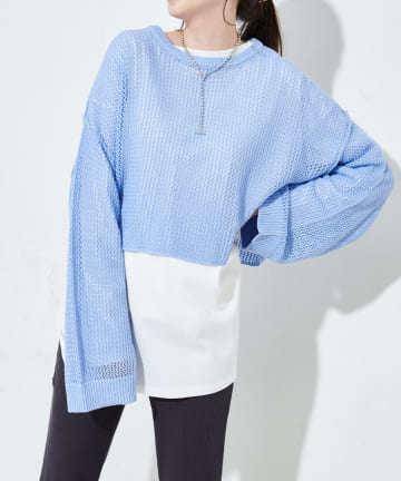 Discoat(ディスコート) 【SET ITEM】メッシュショート丈プルオーバー×ロングTシャツ