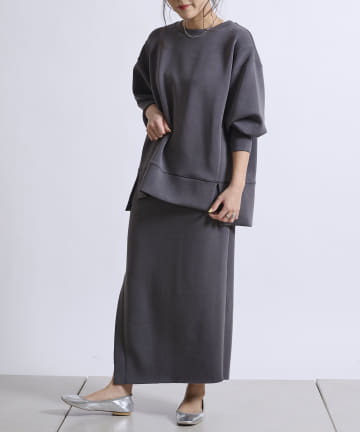 DOUDOU(ドゥドゥ) 【WEB限定】ダンボールスリットスカート+ワイドプルオーバー