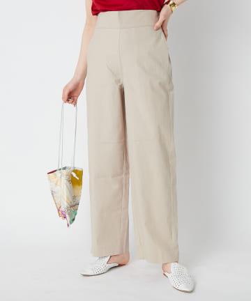La boutique BonBon(ラブティックボンボン) 綿麻ストレッチワイドパンツ