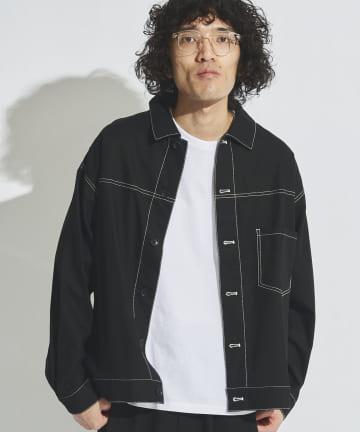 CPCM(シーピーシーエム) 麻混配色ステッチシャツ
