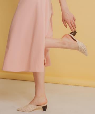 natural couture(ナチュラルクチュール) ウッドヒール雑材メッシュミュール
