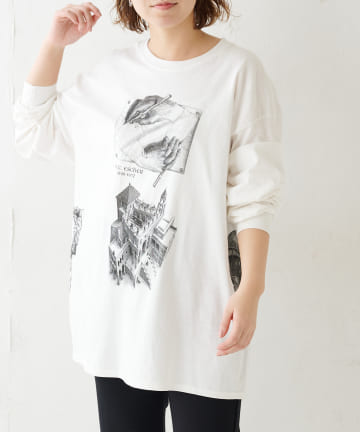 BONbazaar(ボンバザール) 《ユニセックス》【ESCHER】プリントロングスリーブTシャツ