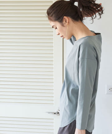 La boutique BonBon(ラブティックボンボン) 【手洗い可】サイロ天竺チュニックTシャツ