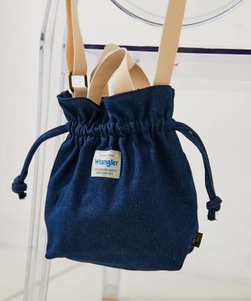 Daily russet(デイリー ラシット) 【Wranglerコラボ】 デニム巾着ショルダーバッグ