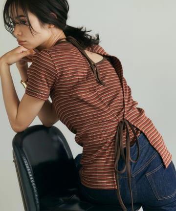 La boutique BonBon(ラブティックボンボン) 【洗える・セットアップ可・CURRENTAGE】コットンリブジャージーTシャツ