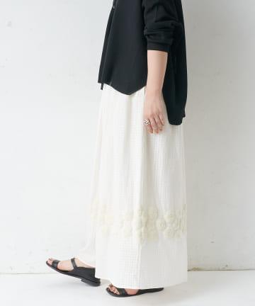 BEARDSLEY(ビアズリー) 裾刺繍ギャザーパンツ