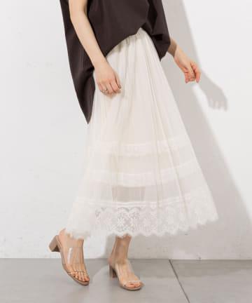 prose verse(プロズヴェール) 【ウエストゴム仕様】チュールプリーツレース使いスカート