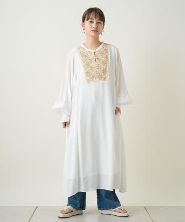 Kastane(カスタネ) 楊柳刺繍カフタンワンピース