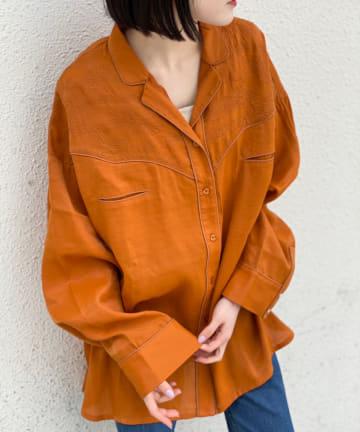Kastane(カスタネ) 刺繍パイピングウエスタンシャツ