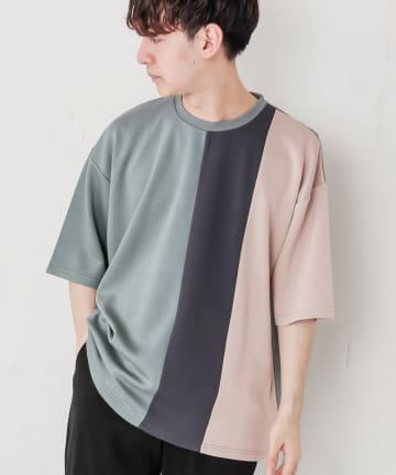 Discoat(ディスコート) ライトダンボール配色切替Tシャツ