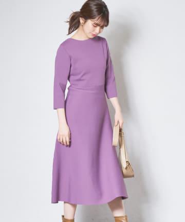 natural couture(ナチュラルクチュール) 美シルエットポリニットワンピース