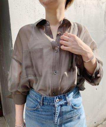 SHENERY(シーナリー) オーガンジーオーバーシャツ