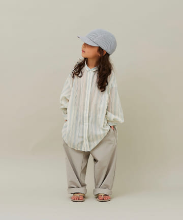 BONbazaar(ボンバザール) 《キッズ》【MOUN TEN】stripe chiffon big shirts