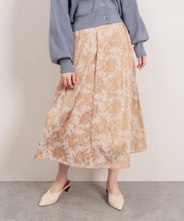 natural couture(ナチュラルクチュール) アートフラワージャガード柄タックフレアスカート