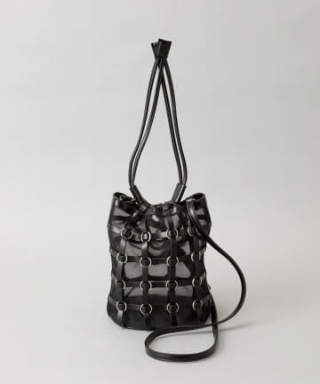CIAOPANIC(チャオパニック) チュール格子巾着バッグ/2WAYショルダーバッグ
