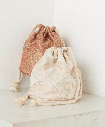 Discoat(ディスコート) ジャガードペイズリー巾着トートバッグ