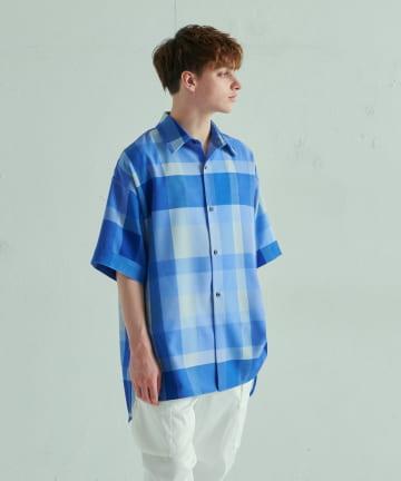 Lui's(ルイス) 5分袖オリジナルチェック スリットビッグシャツ