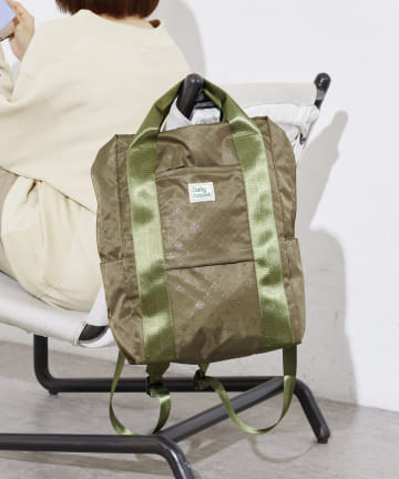 Daily russet(デイリー ラシット) 【容量18L】裏張りナイロン 型押しテープリュックトートバッグ