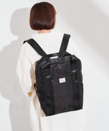 Daily russet(デイリー ラシット) 【容量18L】裏張りナイロン 型押しテープリュックトートバッグ