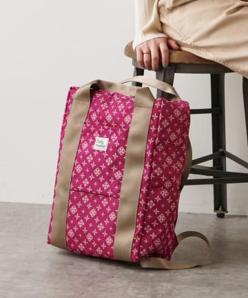 Daily russet(デイリー ラシット) 【容量18L】裏張りナイロン プリントテープリュックトートバッグ