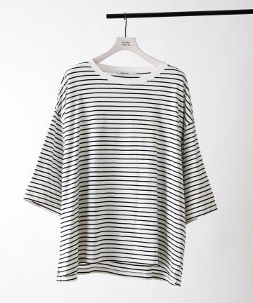 COLONY 2139(コロニー トゥーワンスリーナイン) 細ボーダー天竺BIGTシャツ/ビッグシルエットボーダーTシャツ