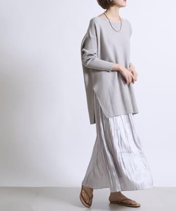 DOUDOU(ドゥドゥ) 【WEB限定】ガーターニット+シャイニープリーツスカート