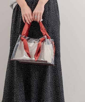 natural couture(ナチュラルクチュール) サテンハンドルクリアトートバッグ