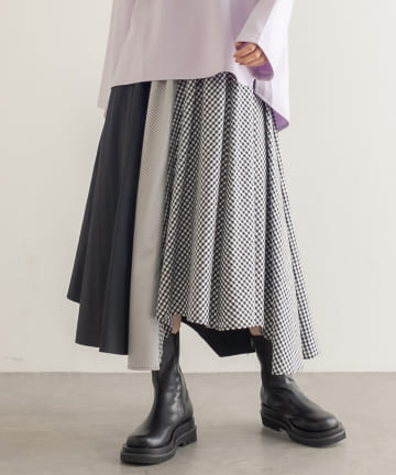 Lui's(ルイス) ギンガム・ストライプミックスアシメヘムラインスカート