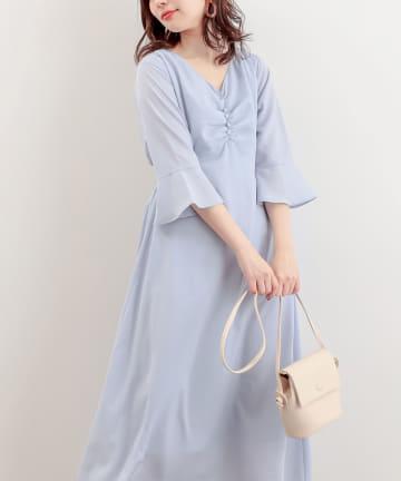natural couture(ナチュラルクチュール) 【WEB限定】胸くしゅすっきりAラインレディワンピース