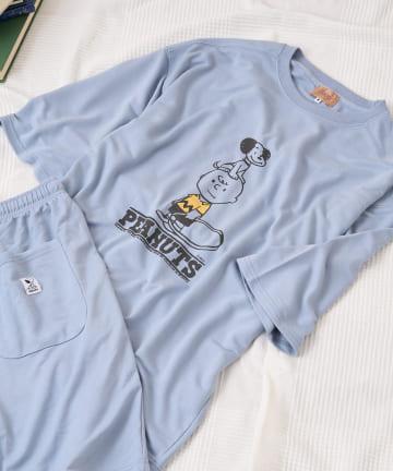 Daily russet(デイリー ラシット) 【おうち時間】スヌーピールームウェア (ビッグTシャツ+ショートパンツ)