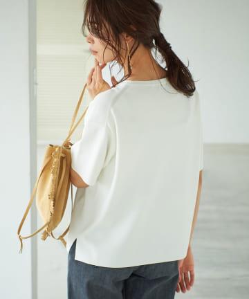 La boutique BonBon(ラブティックボンボン) 【手洗い可】クールタッチUVワイドニットTシャツ