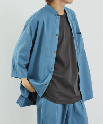 COLONY 2139(コロニー トゥーワンスリーナイン) テックリネン8分袖マンダリンカラーシャツ(セットアップ可)[着用動画あり]