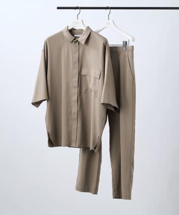 COLONY 2139(コロニー トゥーワンスリーナイン) テックリネン5分袖比翼シャツ(セットアップ可)