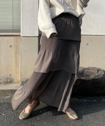 DOUDOU(ドゥドゥ) プリーツティアードスカート