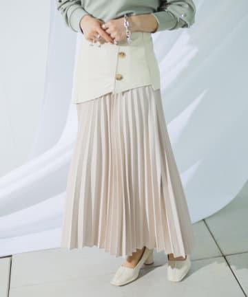 mona Belinda(モナ ベリンダ) 合皮切替プリーツスカート