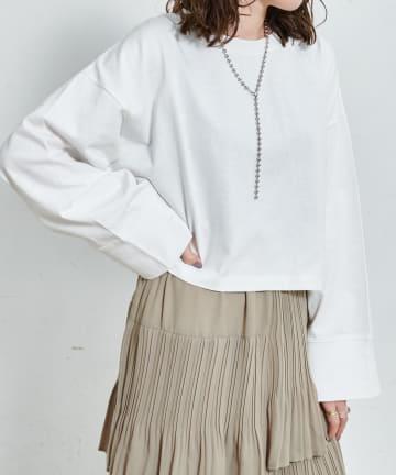 Discoat(ディスコート) 【ネックレス付き】袖ワイドショートプルオーバー
