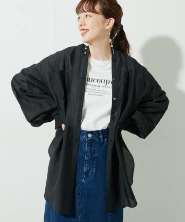 Discoat(ディスコート) シアーバンドカラーシャツ