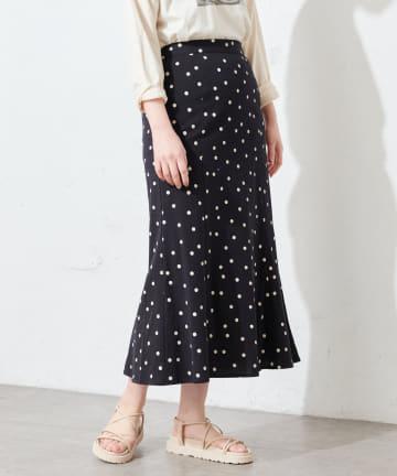natural couture(ナチュラルクチュール) 麻調ドットマーメイドスカート