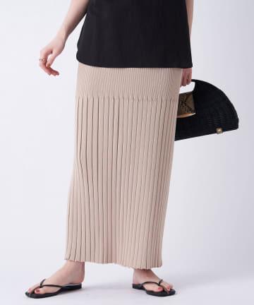 un dix cors(アンディコール) 【Iラインシルエットがスタイルアップに】リブ編みニットロングスカート