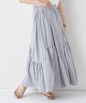 BONbazaar(ボンバザール) ストライプギャザースカート