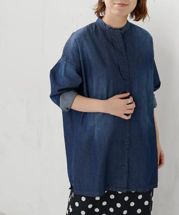 BONbazaar(ボンバザール) ライトデニムバンドカラーシャツ