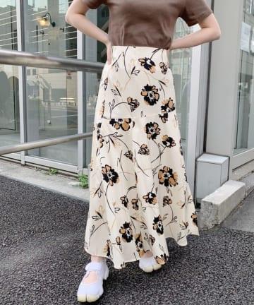 SHENERY(シーナリー) プリント切替マーメイドロングスカート