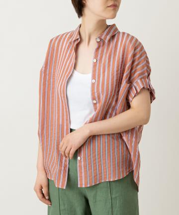 LIVETART(リヴェタート) 【清涼感のあるシアー素材】ストライプシースルーシャツ